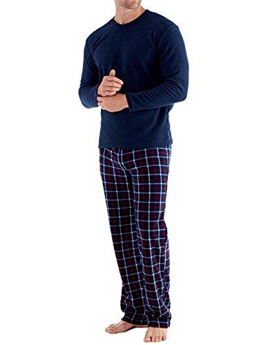 Herren Harvey James Thermo Top, Polar Fleece Hose Warm Pyjama Sets Marine