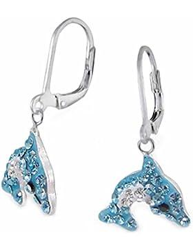 SL-Silver Ohrringe Kinderohrringe Kristall Delfin blau-weiss Klappverschluss 925 Silber in Geschenkverpackung