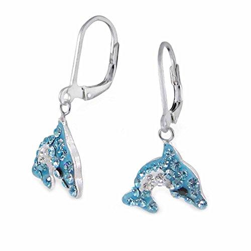 FIVE-D Kinder Ohrringe Kristall Delphin 925 Sterling Silber im Schmucketui (Blau) (Ohrringe Für Kinder)