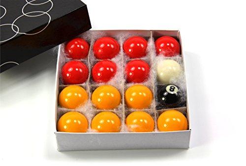 Economy Billardkugeln für Kinder, klein, 38mm, rot & gelb, Pool-Kugeln– Set mit 16Bällen – 3,81cm Größe