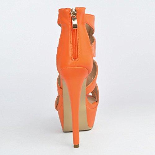 Kolnoo Damen Faschion 14cm Absatz geöffnete Zehe Plattform Partei Abschlussball Sandelholz Schuhe Orange