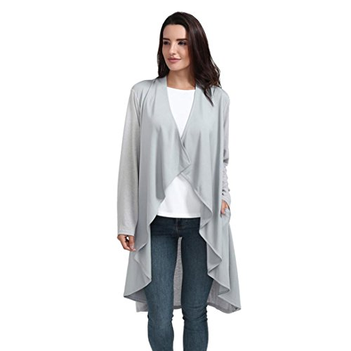 Gaddrt Women Full Sleeve Solid Irregular Blouse Elegant Coat Cardigan - Polyester Gray