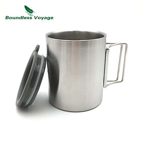 Boundless Voyage Double Layer Stainless Steel Travel Mug Folding Water Cup Camping Outdoor Coffee Cup(BV1009)