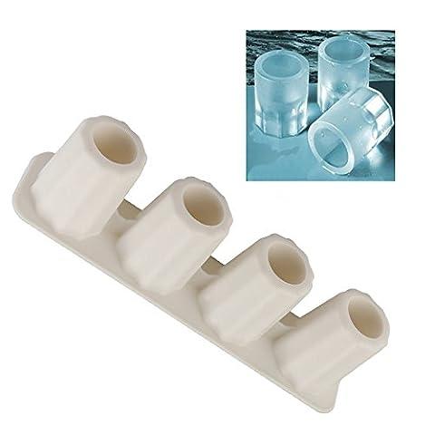 Bluestercool 4-Cup Moules à glaçons en forme de congélation Jello Shot plateau (Blanc)