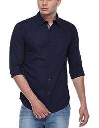 Cotton Tree Men's Casual Shirt_25_Blue_M