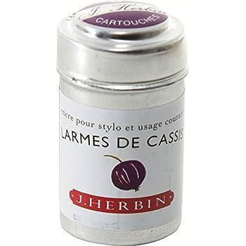 J Herbin Lot de 6 cartouches d'encre pour styloLarmes de cassis