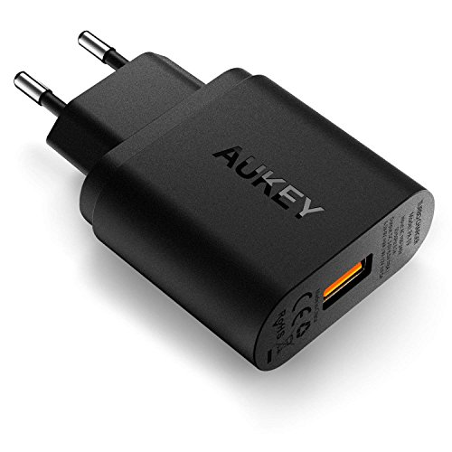 AUKEY Quick Charge 3.0 Chargeur Secteur USB 19,5W Chargeur Mural pour Samsung Galaxy S8/S8+/Note 8, LG G5/G6, Nexus 5X/6P, HTC 10, iPhone XS / iPhone XS Max / iPhone XR, iPad Pro/Air, Moto G4 etc.