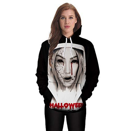 Zegeey Unisex Sweatshirts Halloween 3D Print Kapuzenpullover Pullover Langarm Hoodie FrüHling Herbst Winter LäSsige Damen Herren Bluse Oberteile Outwear(Schwarz,EU-40/CN-2XL) -