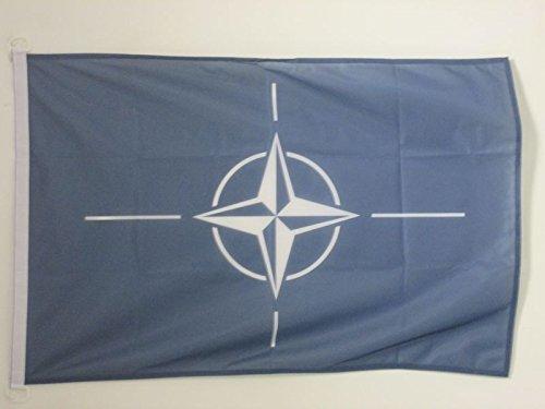 AZ FLAG BOOTFLAGGE NATO 45x30cm - OTAN BOOTSFAHNE 30 x 45 cm Marine Flaggen Top Qualität
