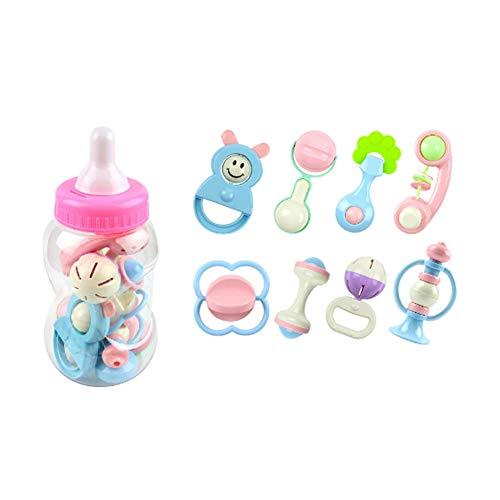 Hilai Toy Prima Rattle and dentizione di 8pcs Newborn Rattle Dentaruolo Set Bambino Con la Giant Bottiglia del Latte infantile Shake Afferrare Mano del Bambino Giocattoli