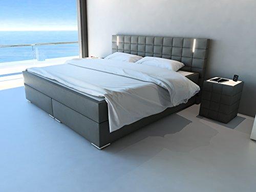 SAM® Design Boxspringbett Berlin mit Samolux®-Bezug in grau, LED-Beleuchtung, Bonellfederkern-Matratze, Box mit Holzrahmen und Nosag-Unterfederung, hochwertigen chromfarbenen-Füßen, 180 x 200 cm