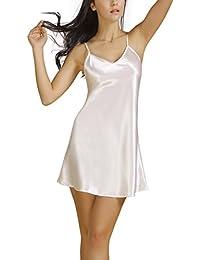 Bel Avril Femme Chemise de Nuit Peignoir simple Nuisette Satin Taille de S à XXXL