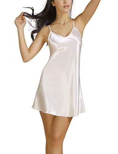 Bel Avril Damen Edles Sexy Nachthemd Nachtwäsche Negligee V-Ausschnitt Strap Spaghetti aus Satin Lingerie Weiß S (Kleider Satin Sexy)