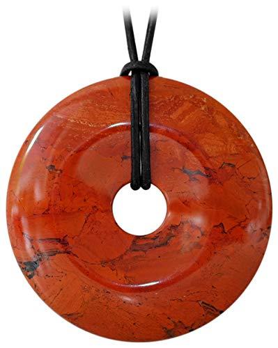 schenkidee - Lederkette für Damen und Herren mit Donut Anhänger Edelstein Jaspis Rot Samt (Ø 50 mm) ()