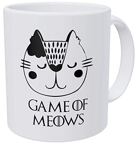 Spiel des Meows-Katzen-Gesichtes, 11-Unze-Weiß Kaffeetassen Geschenk durch Kiskistonite, Andenken-Sammlerstück -