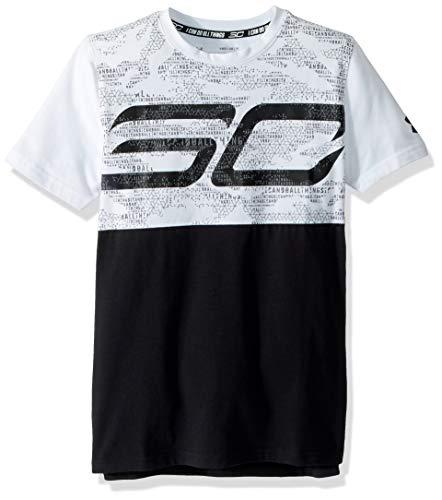 Under Armour Sc30 - Camiseta de Manga Corta para niño, Infantil, Color Blanco/Negro, tamaño Junior L