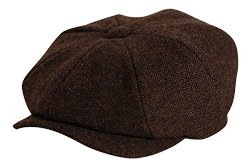 peaky-blinders-style-shelby-brown-herringbone-button-top-cap-by-gamble-gunn-63cm