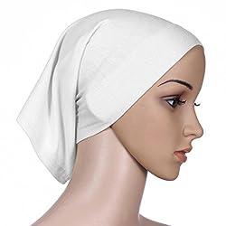 QHGstore Frauen-Kopftuch Elastic Sweat Saugfähige Baumwolle Underscarf Hijab Tube Cap Weiß