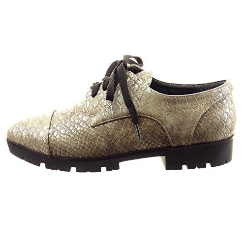 Angkorly Zapatillas Moda Zapato Derby Low Mujer Piel de Serpiente Perforado Acabado Costura pespunte Plataforma 4.5 cm - Champán XH1002 T 40 REU25Get