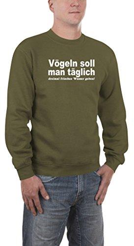 Photo Gallery touch sweatshirt vgeln soll man, felpa uomo, verde (khaki), 2xl