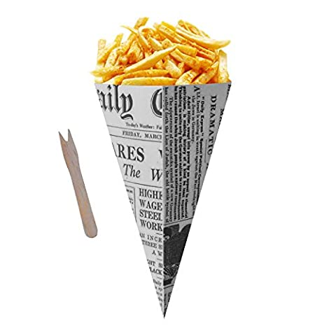Old Fashioned Style Fish & Chips Newspaper Cones with Wooden Forks (Pack of 200)