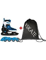SET - SPOKEY® SNOOKI Inline Skates / Schlittschuhe mit austauschbarer Schiene + ULTRAPOWER® Beutelrucksack | Kinder | Damen | Herren | Inliner | Blades | Rollen | Kufe | ABEC5 Carbon | 29-32 | 33-36 | 37-43