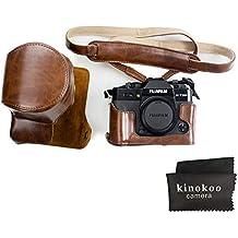 Kinokoo Canon custodia per fotocamera in pelle PU per fotocamere Fujifilm x-t20, Fujifilm x-t10e obiettivo 16–50mm, 18–55mm con la cinghia e panno di pulizia