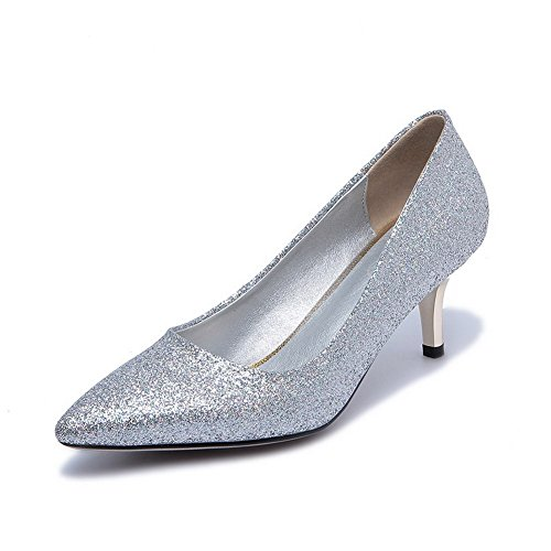 AllhqFashion Femme Couleur Unie Tissu à Paillette à Talon Correct Pointu Tire Chaussures Légeres Argent