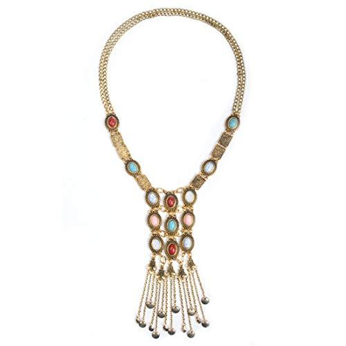Belle Maison Europa und Amerika übertreiben Persönlichkeit Mehrschichtige Bunte Edelsteine   Lange Halskette Weibliche Accessoires Vintage Anhänger
