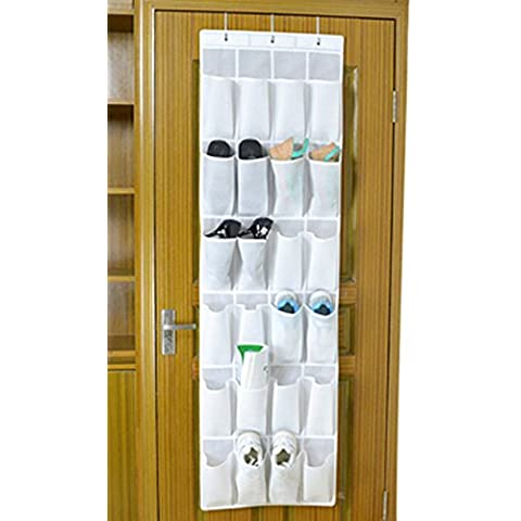 BXT - Organizer a 30 tasche da appendere alla porta o all'armadio, salvaspazio White
