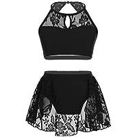 iiniim Vêtements de Sport Enfant Fille Robe de Danse Ballet Latine Justaucorps  Gymnastique Gym Yoga Haut 14c9dd43fcf