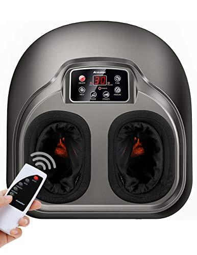 Fuß Massagegerät Arealer, elektrisch Fussmassage mit Luftkompression/Erwärmen, 5 Shiatsu/Kneten Modi für Füße, mit Fernbedienung/LCD Anzeige, für Zuhause/Büro