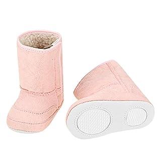 Arshiner Säuglingskleinkind Babyschuhe Krabbelschuhe Weiche Warme Erstlingsschuhe mit Klettverschluss und Gummisohle Pink 0-24 Monate