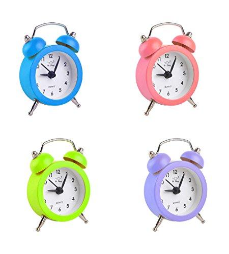 takestop® Mini-Tischwecker, klein, Uhr/Alarm, Farbe: zufällig