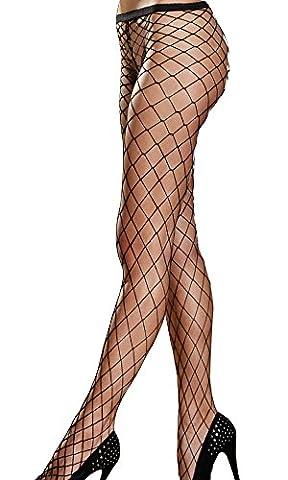 Damen Netz-Strumpfhose Pantyhose grobmaschig fencenet schwarz