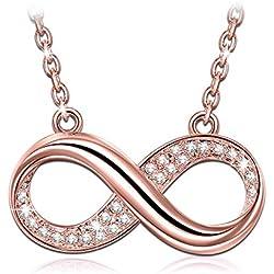 Susan Y Infinito Collar Mujer con Cristales de Swarovski Oro Rosa Plateado Joyas para Niñas Madre Aniversario Su Ella día de San Valentín