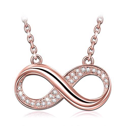 Susan y infinito collana donna con cristalli da swarovski chiaro oro rosa regali di natale gioielli per compleanno anniversario san valentino madre moglie figlia ragazza lei