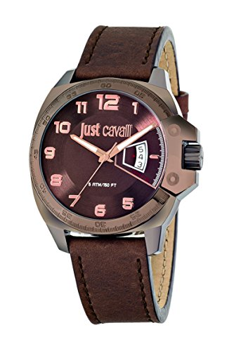 Just Cavalli Just Escape Men's Quartz Watch with Brown Dial Analogue Display and Brown Leather Strap R7251213002