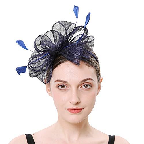 Soxtome Sinamay Fascinator mit Federn, Haarband, Haarspange für Hochzeit, Cocktail, Tee, Party, Royal Ascot Gr. Einheitsgröße, Navy (Navy Britische Royal Hat Die)