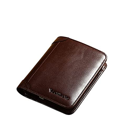 Men's Genuine Cowhide Wax Leather Extra Capacity Bifold Wallet (Coffee)