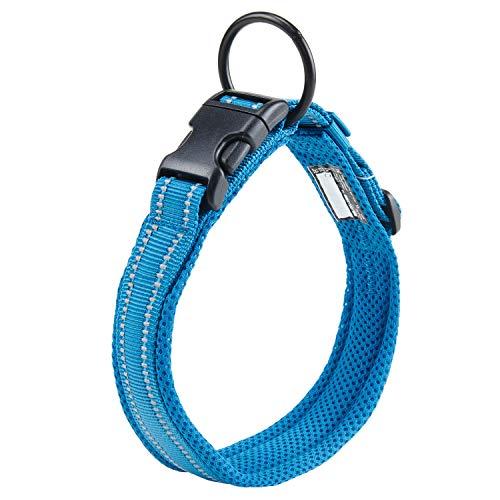 Collar para Perros Pequeños Grandes Medianos Reflectante Suave Acolchado Impermeable Ajustable Transpirable con Etiqueta de Nombre para Caminar Correr Trekking Entrenamiento (Azul, S)