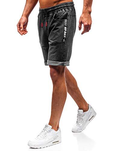 Bolf pantaloncini corti - jeans - coulisse - stemme - stile casual - da uomo nature 5788 neri xxl [6f6]
