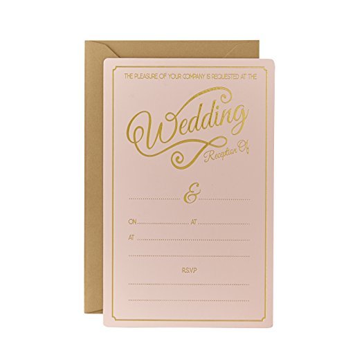 Wedding reception invitations amazon ginger ray evening wedding reception pastel pink gold foiled wedding invitations x 10 pastel perfection junglespirit Image collections