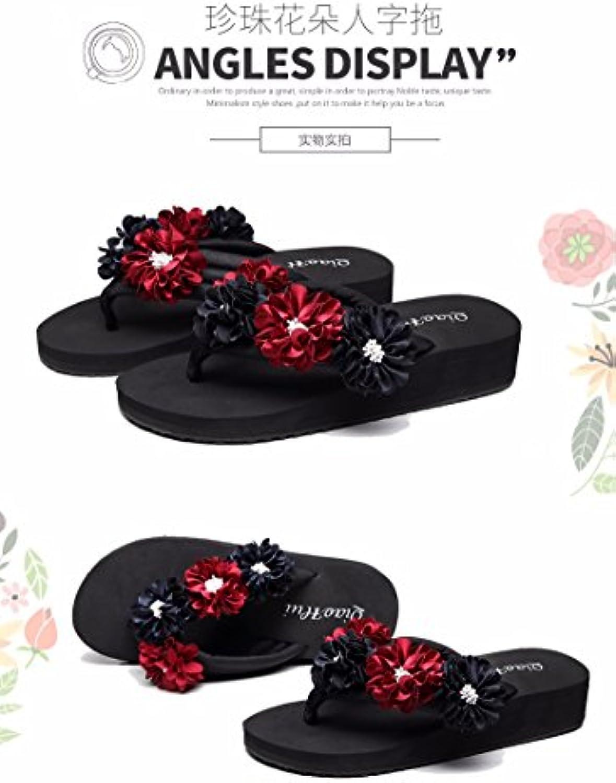 XIAOGEGE Xiaogee Sandalias, Sandalias de Verano y Flips, Encantadora, Gruesa, Flores, Zapatos de Playa Antideslizantes...