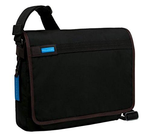 PIQUADRO Messenger piccola porta computer con patta, porta iPad® imbottito e porta cellulare Nimble nero CA2076NI/N