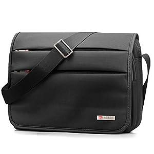 SPAHER Bolso de hombro para hombre maletín Ipad Laptop Work Messenger Bolso de negocios escuela Crossbody bolso de mano Bolso de viaje prueba de agua para portátil MacBook Air 11.6″ Negro