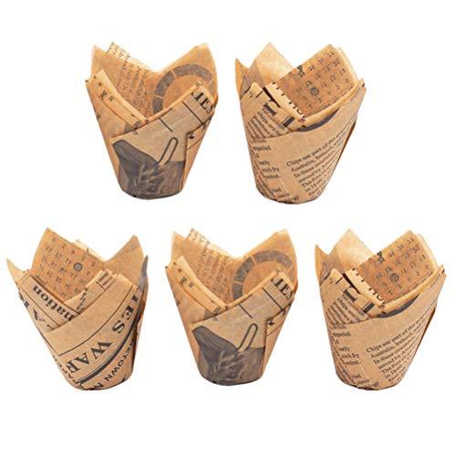 BESTONZON 100 Stück Papier-Backförmchen Tulpen-Design Cupcake-Förmchen Muffinförmchen Kuchen Party Gastgeschenke (Golden)