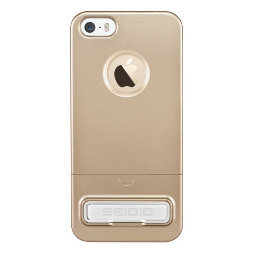 Seidio Surface Reveal Case with Metal Kickstand for Apple iPhone 5/5S - Retail Packaging - Gold