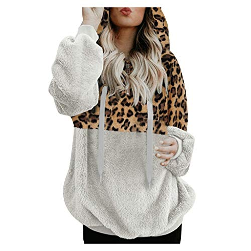 Bumplebee Leopard Kapuzen Sweatshirt Damen Elegant Patchwork Kapuzenjacke Kapuzenpullover Damen Schwarz/Grau/Weiß Langarm Kunstpelzmantel Mode Winter Warm Sweatjacke Mantel Pullover