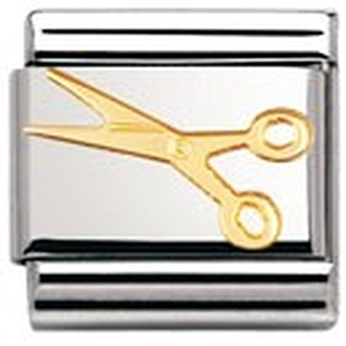 Nomination Composable Classic Daily Life Small Scissors Stainless Steel and 18K Gold